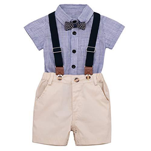 SH-RuiDu Baby Jungen Kleidung Set Fliege Strampelanzug + Straps-Shorts 0-24M 2pcs/Set Gr. 70 cm, blau