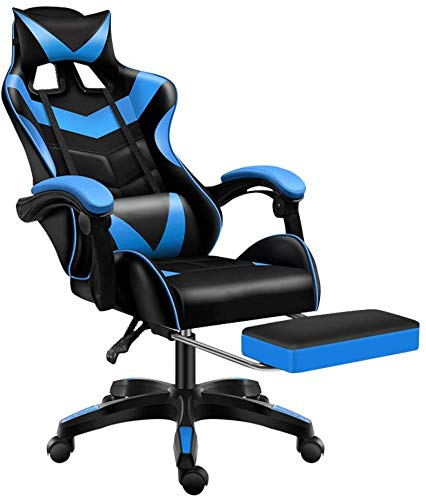 Jackgold Gaming Footrest Office Adjustable Swivel Leather High Back Computer Desk Chair with Headrest and Lumbar Support, Blue-Black