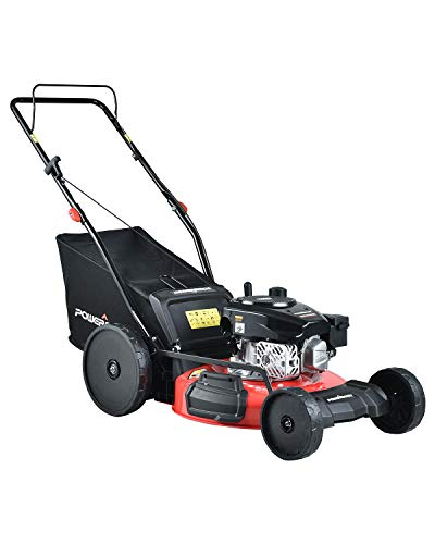 PowerSmart Lawn Mower, 21-inch & 170CC, Gas Powered Self-Propelled Lawn Mower with 4-Stroke Engine, 3-in-1 Gas Mower in Color Red/Black, 5 Adjustable Heights, PS7218SR