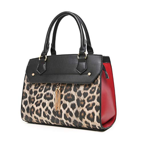 Aitbags Leopard Print Metal Tassel Purse and Handbag for Women Top Handle Satchel Tote with Shoulder Strap