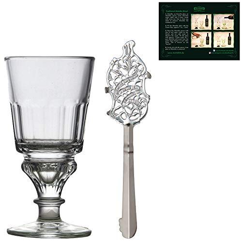 Absenta Juego de vaso y cuchara   Vaso de Absenta tradicional   Cuchara de Absenta de acero inoxidable