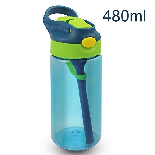 Bioasis Trinkflasche 480ml Wasserflasche Sportflasche aus Auslaufsicher Tritan BPA Frei für Kinder, Jungeen, Mädchen, Schule, Kindergarten, Outdoor