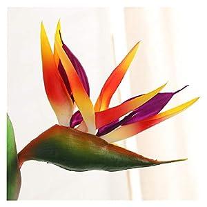 JSJJAED Artificial Flowers End Artificial Flower 80cm Single Branch Paradise Bird Plastic Simulation Fake Flower Home Garden Wedding Decoration (Farbe : Orange)
