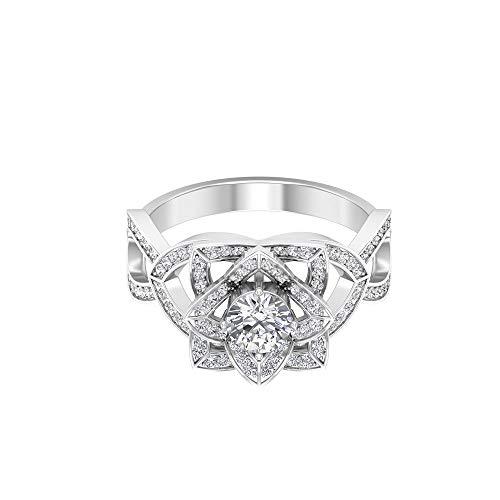 Anello da donna in oro moissanite certificato 1,03 ct, classico anello nuziale con fiore di loto, DE-VS1, 14K Oro bianco, Moissanite, Size:EU 66