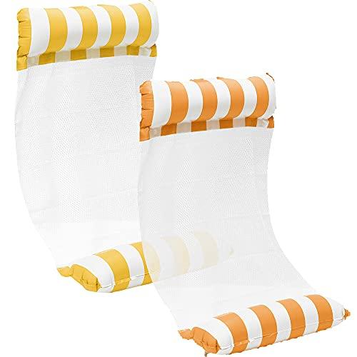 kunst für alle [2Stück] Aufblasbare Wasserhängematte Schwimmbett 4 in1 Wasser Hängematte Loungesessel Pool Lounge luftmatratze aufblasbare hängematte Schwimmbad Strand (Yellow+Orange)