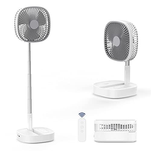 Faltbarer Ventilator mit Fernbedienung, Höhenverstellbarer Leiser Standventilator mit 4 Windgeschwindigkeiten, 10800mAh Kapazität für Zuhause, Büro, Camp und Outdoor, Weiß und Hellgrau