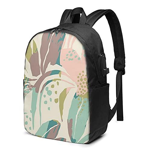 BYTKMFD Mochila de viaje con patrón de hoja de color para portátil, mochila escolar antirrobo, para hombre y mujer con puerto de carga USB de 17 pulgadas, Negro, Talla única