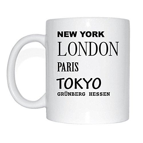 JOllify GRÜNBERG HESSEN Kaffeetasse Tasse Becher Mug M1979 - Farbe: weiss - Design 2: New York, London, Paris, Tokyo