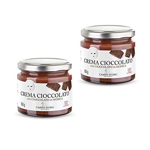 CAMPO D'ORO Set 2 Pezzi CREMA SPALMABILE,Cioccolata spalmabile 180 gr. Crema cioccolato,dolce con cioccolato di Modica IGP. Vellutata e cremosa da utilizzare per la prima colazione.100 % Made in Italy
