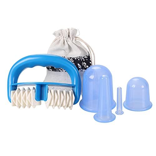 Ysislybin Juego de rodillos de masaje y ventosaterapia para masaje muscular y relajación, tazas de masaje, color azul