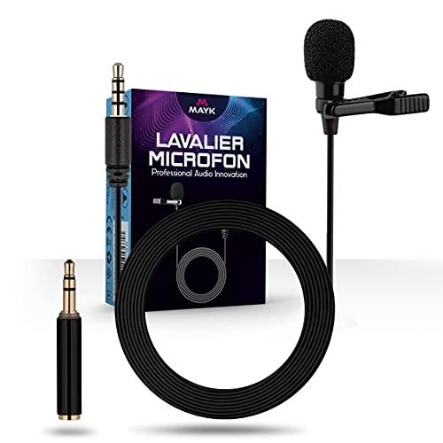 MAYK® Premium Lavalier Mikrofon – Ansteckmikrofon [2m] Kabel – Omnidirektional Mikrofon für Handy – Inkl. [3X] Windschutz – Für iPhone, Computer, Podcast, Interviews, Videokonferenzen