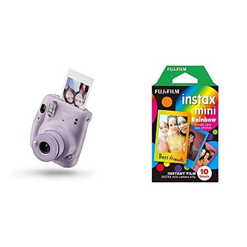instax Mini 11 Camera, Lilac Purple & Mini Frame WW1 Rainbow, Bunt