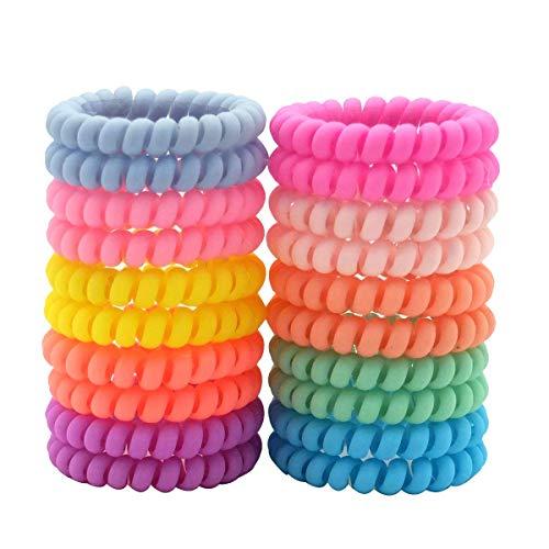 Spiralhaarbänder, Spiral-Haargummis, Telefonkordel, elastischer Spulen-Haargummi, matte Telefonkordel Haarbänder, bunte Haar-Accessoires für Frauen und Mädchen