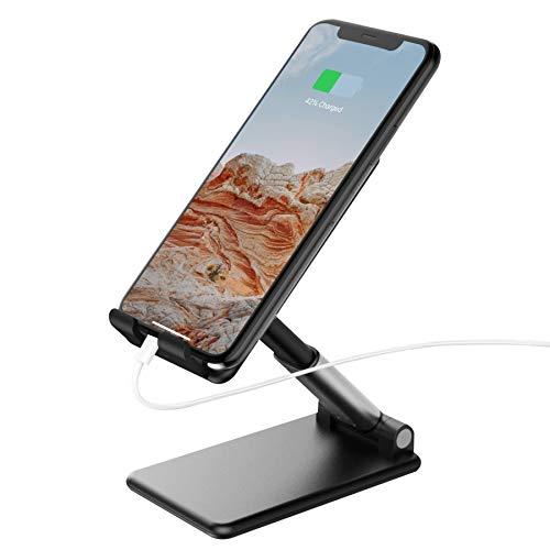 TalkWorks Cell Phone Stand Holder for Desktop Office Accessories & Home - Adjustable, Flexible, Foldable, Portable, Non Slip Smartphone Tabletop Dock for Desk, Bedroom, Kitchen - Black