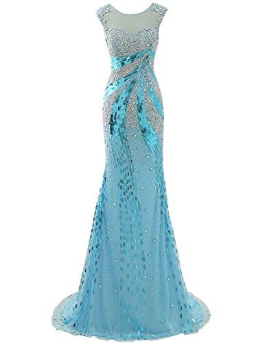 Izanoy Damen Lange Luxus Kristall Meerjungfrau Sexy Zurück Ballkleider Tüll Abendkleid Blau DE44