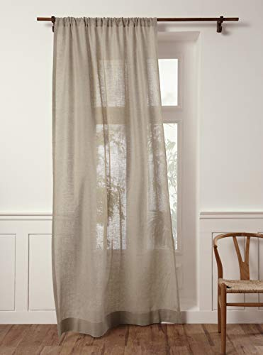 Solino Home 100% Pure Linen Sheer Curtain – 52 x 84 Inch Natural Rod Pocket Window Panel – Handcrafted from European Flax