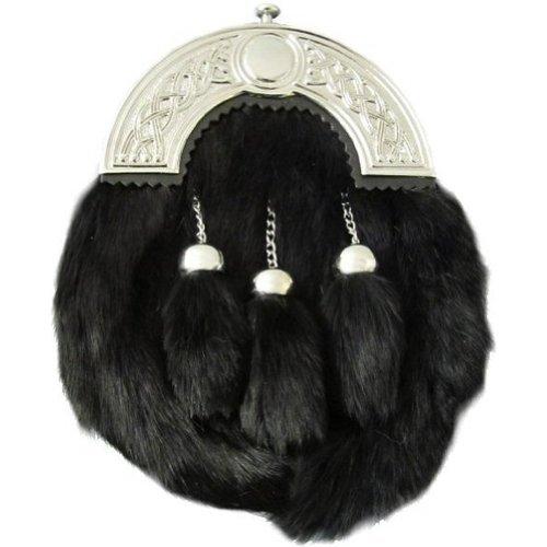 Tartanista - Sporran - fermoir avec motifs celtiques - fourrure de lapin - noir