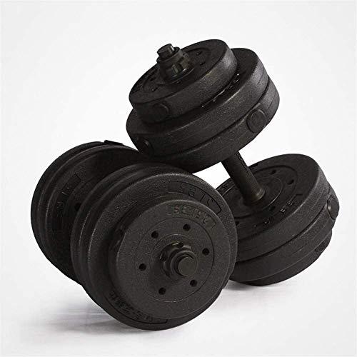 TGFVGHB Pesas 25kg Hombres de Uso en el hogar aparatos de Ejercicios con Mancuernas Paquete con Barra Mancuernas (Color : Negro)