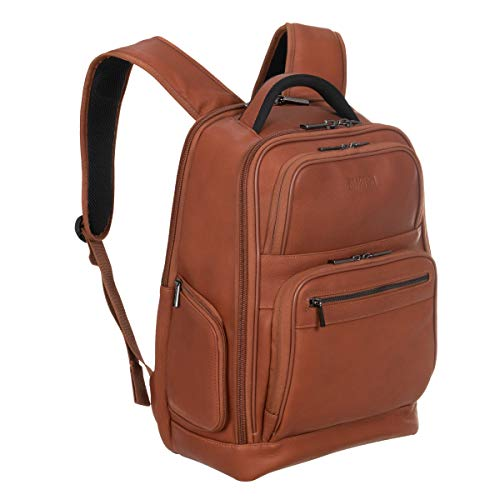 Kenneth Cole Reaction Manhattan Colombian Leather Laptop Backpack RFID Business, School, Travel Computer Bookbag, Cognac