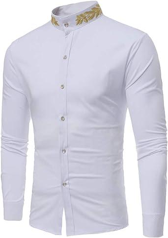 Slim Fit Hombre Casual Camisa con Botones Sin Cuello Manga Larga Impreso Blusa
