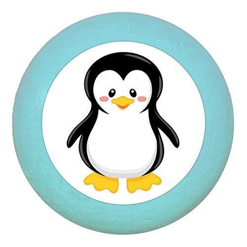 """Möbelgriff""""Pinguin"""" türkis hell Holz Buche Kinder Kinderzimmer 1 Stück wilde Tiere Zootiere Dschungeltiere Traum Kind"""