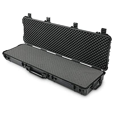 Lauraland 48 Inch Carrying Rifle Case, All Weather Water-Proof Safety Hard Gun Case with Foam with Wheels and Cuttable Foam