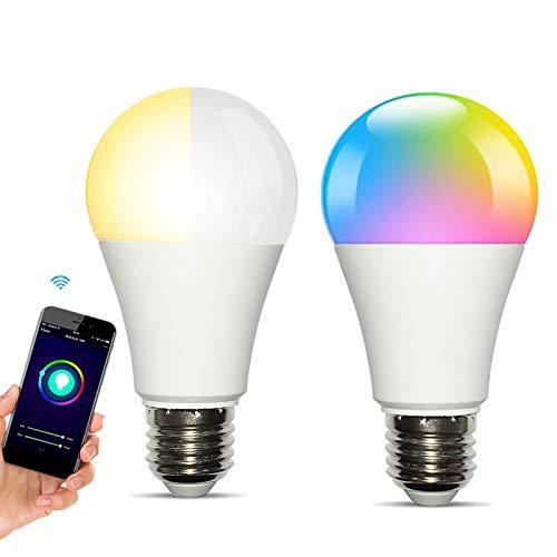 Smart Alexa Glühbirne Farbwechsel e27 Lampe für Google Home RGBCW Lampen Warmweiß Kaltweiß Mehrfarbige Leuchtmittel 2700-6500K für Echo LED Glühbirne Dimmbar WiFi Licht (10W 1000Lm, 2 Pack)