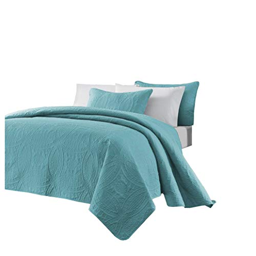 Chezmoi Collection Austin 3-Piece Oversized Bedspread Coverlet Set (Queen, Turquoise)