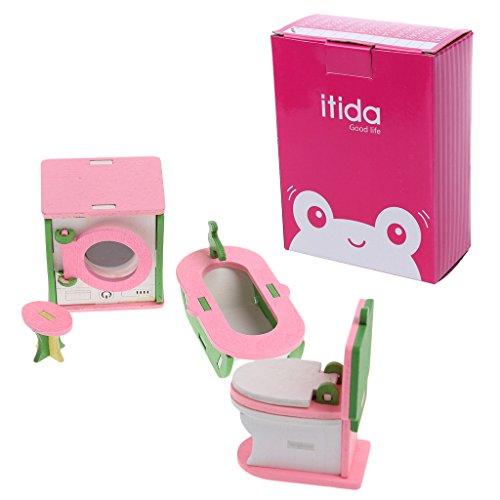 Mikiya Kid Wooden Furniture Dolls House Miniature Bath Bed Living Room Children Toy Gift