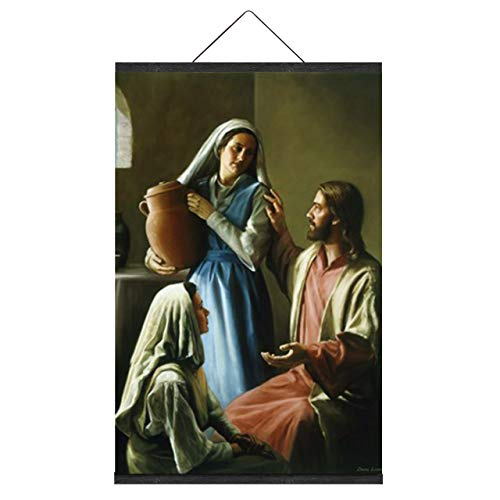 NO MARK Mary & Martha Oil Painting Reproduction Religious Picture Poster Image Canvas Prints Wall Decor with Magnetic Hanger Clip Frame (22 x 32 Inch)