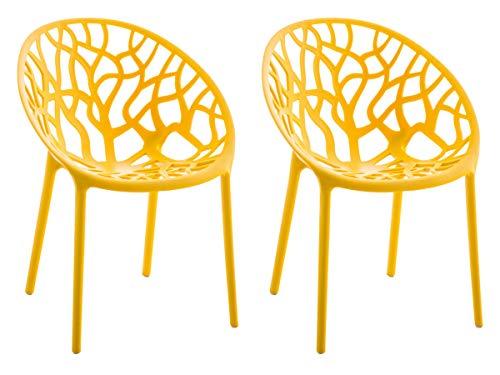 CLP 2er-Set Gartenstuhl Hope Aus Kunststoff I 2 x Wetterbeständiger Stapelstuhl Mit max. 150 KG Belastbarkeit, Farbe:gelb