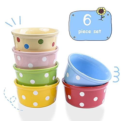 Bols de ramequins, 6 paquets de 8 oz ramequins en porcelaine bols ramequins en céramique pour la cuisson, le pudding, le fromage, le soufflé à la crème, la crème glacée (6 Éléments étoiles, 8 Oz)