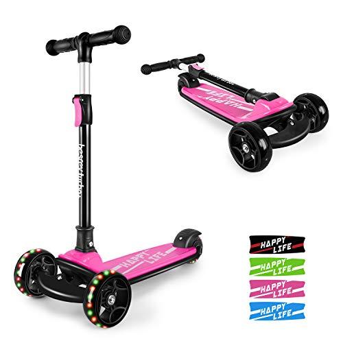 besrey Kinderroller Kinderscooter Kinder Roller Kickscooter für Kleinkind 3 Räder höhenverstellbar mit LED leuchtenden Räder ab 3 bis 8 Jahren - Rosa