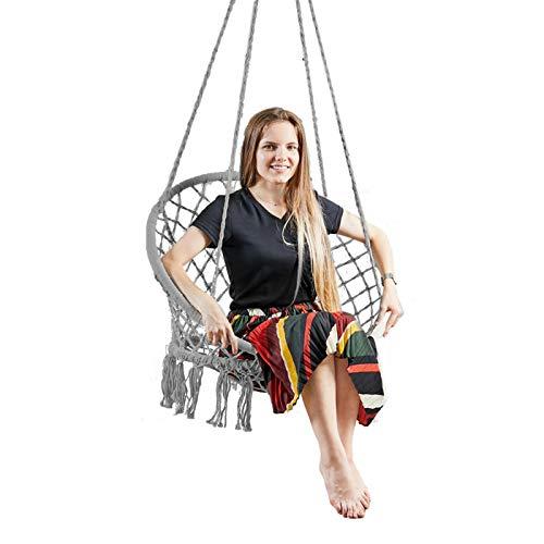 Hammock Chair Macrame Swing Handmade Cotton Rope Swing Chair with Hanging Hardware Kits Bohemian Hanging Tassel Swing for Indoor Outdoor Grey