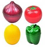 NIDONE Food Saver Fruit Vegetable Storage Containers Onion Pepper Lemon Tomato Shaped Reusable Plastic Refrigerator Box 4PCS