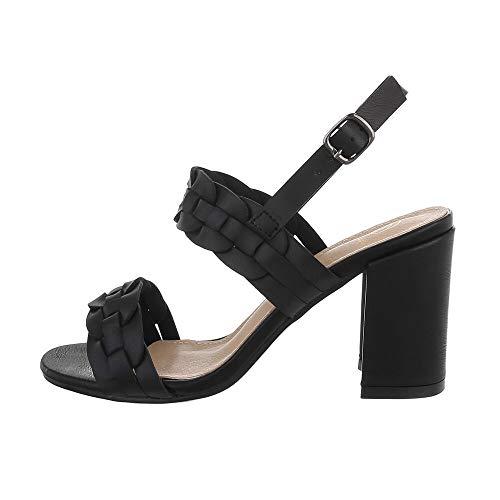 Ital Design Damenschuhe Sandalen & Sandaletten High Heel Sandaletten, GZ601-, Kunstleder, Schwarz, Gr. 38