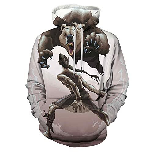 Hooded Sweatshirts Hoodies Bear Mythological Battle Scene Between an for Men/Wom