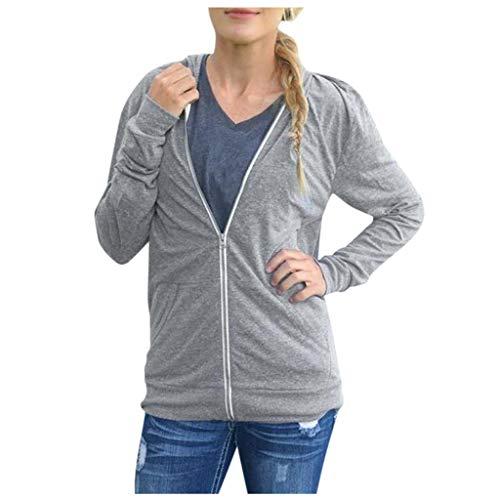 Linkay Jacke Damen Sweatjacke Hoodie Sweatshirt Pullover Oberteile Kapuzenpullover V Ausschnitt Patchwork Pulli mit Kordel und Zip(Grau,Small)