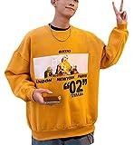 BeiBang(バイバン) メンズ トレーナーパーカーメンズクルーネックプルオーバートップスオーバーサイズ韓国ファッションパーカー春秋コットン大きいサイズ(20カーキ)