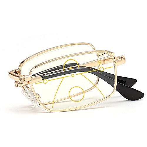 YOLANDE Dorado Plegables Multifocales Progresivas Gafas De Lectura Portátil Anti