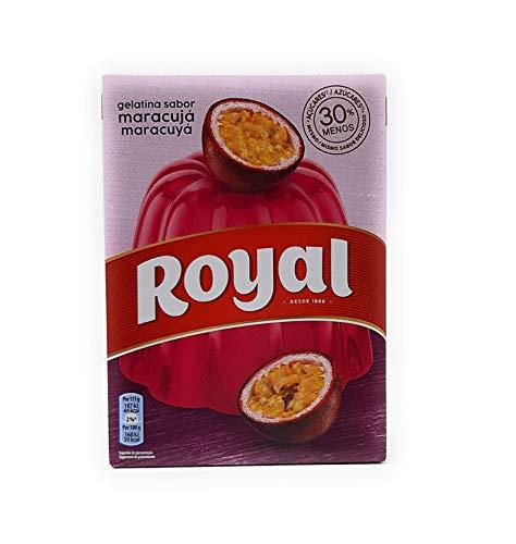 Royal, Gelatina in Polvere, Gusto Frutto della Passione, 30% Zuccheri in Meno, 114 gr