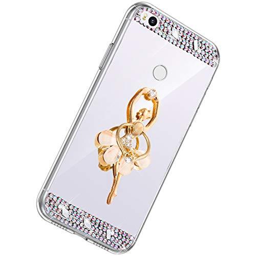 Herbests Kompatibel mit Xiaomi Mi Max 2 Handyhülle Glitzer Diamant Glänzend Spiegel Handytasche Durchsichtig Kristall Bling Schutzhülle Case mit 360 Grad Ring Ständer Halter,Silber