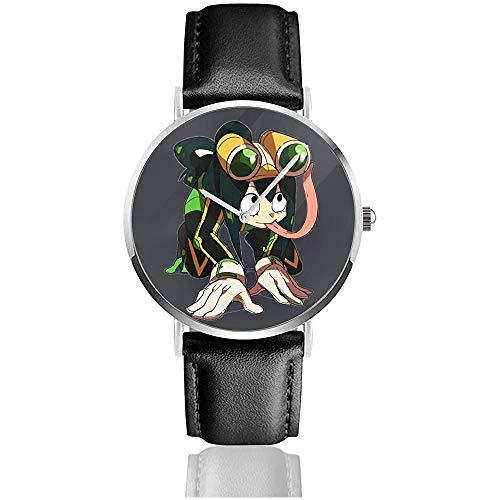 Mein Hero College Frosch bläst die Regenmode Uhren Armband UV-Lederarmband Ultradünne Uhr