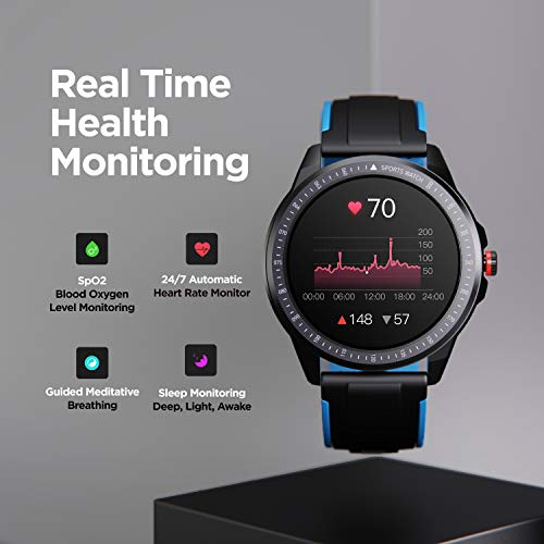 """boAt Flash Edition Smartwatch with Activity Tracker,Multiple Sports Modes,Full Touch 1.3"""" Screen,Gesture Control,Sleep Monitor,Camera & Music Control,IP68 Dust,Sweat & Splash Resistance(Galaxy Blue)"""