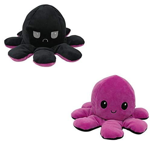 NAIHEN oktupus stimmungs kuscheltier,Kinderspielzeug Geschenk Plüschtiere,niedlich kleine Octopus Doppelseitige Flip Doll Soft Cabrio