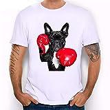 Trend - Camiseta de manga corta para hombre, diseño de perro de boxeo, color blanco, talla grande, talla XXL)
