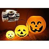 ハロウィン 飾り カボチャ かぼちゃ バケツ 大中小3個 LED キャンドル 電池付 防災用 マスキング テープ セット