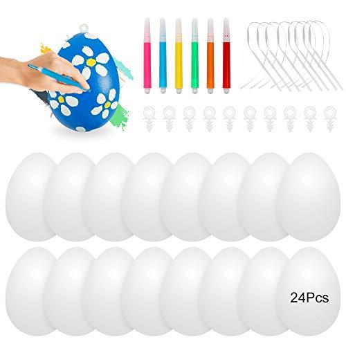 Oeufs de Paques Decoration, 24 œuf de Pâques,Oeuf de Paques a Decorer,Colorant Oeuf de Paques,Peinture Oeuf de Paques,Oeufs en Plastique Suspendus avec Corde,Peinture de Bricolage de Paques