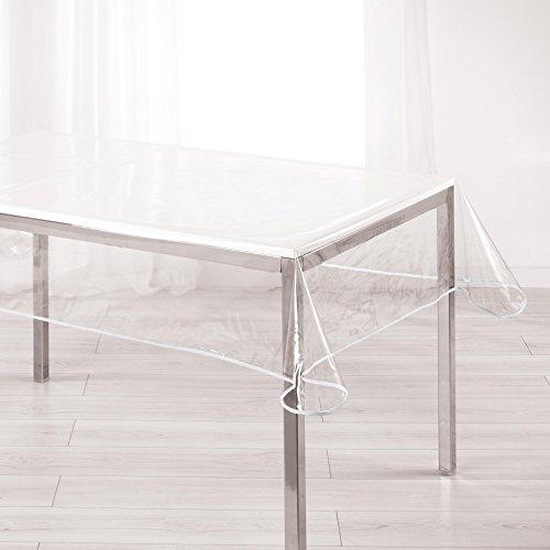 Décor Line, tovaglia rettangolare trasparente, 140x 240cm, PVC, bianco, 140 x 240 cm