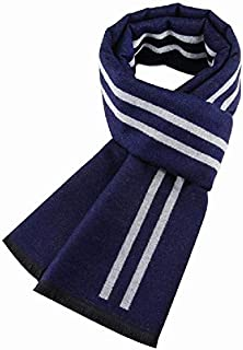 Winter Men's Warm Scarf Striped Scarf Imitation Cashmere Casual Scarf,Blue yppss (Color : Blue, Size : -)